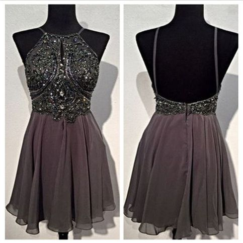 A Line Round Neck Homecoming Dresses,Short Grey Backless Prom Dress,Homecoming…