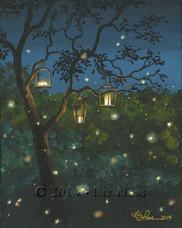 Lanterns Lightning Bugs With Images Firefly Painting