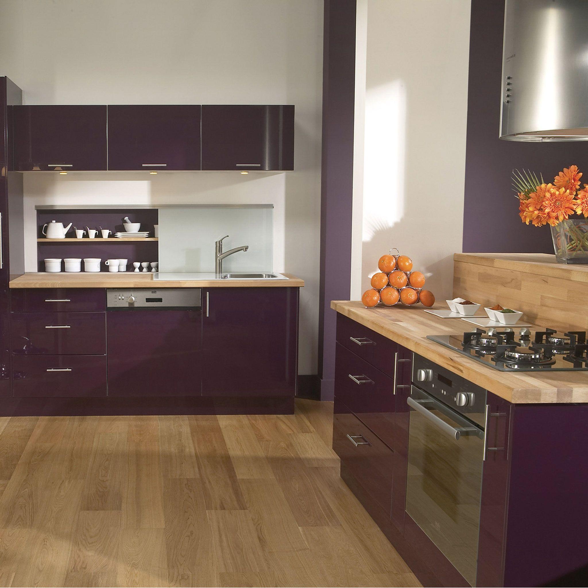 Meuble De Cuisine Delinia Composition Type Aubergine Violet - Buffet de cuisine conforama occasion pour idees de deco de cuisine