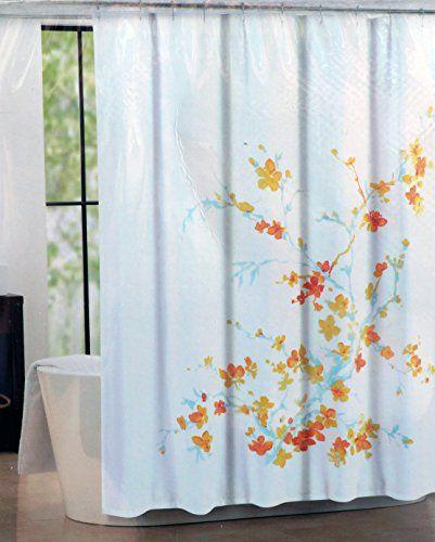 Tahari Fabric Shower Curtain Blue Orange Yellow Printemps Tahari