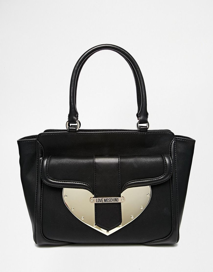 4cbc4f580d2 Love Moschino Leather Shoulder Bag with Metal Heart Detail | BAGS ...