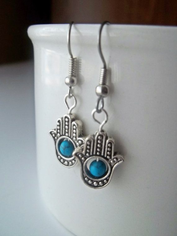 Hand of Hamsa Protection Drop Earrings with by ZyloHandmade