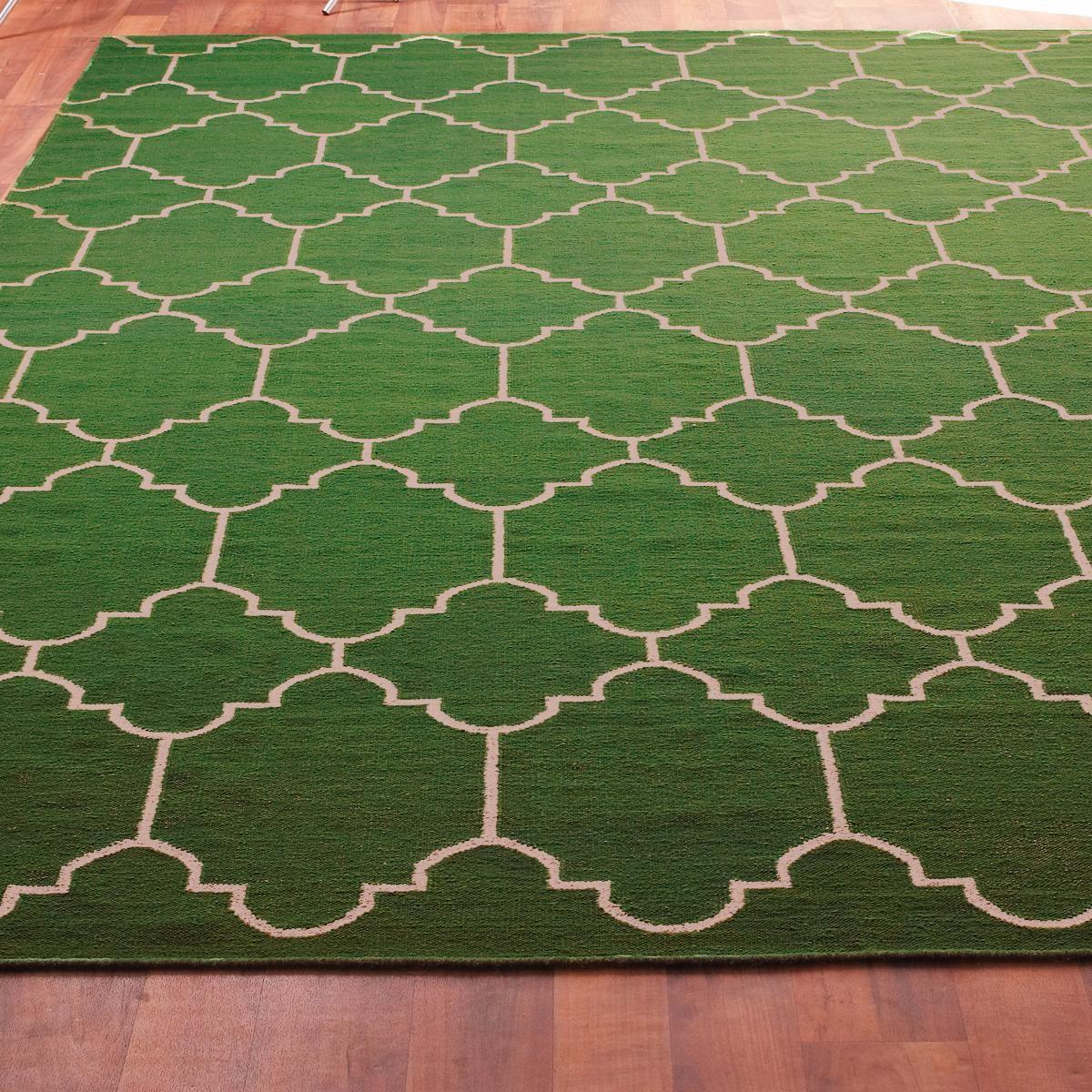 Moroccan Tile Dhurrie Rug Dhurrie Rugs Green Rug Emerald Green Rug