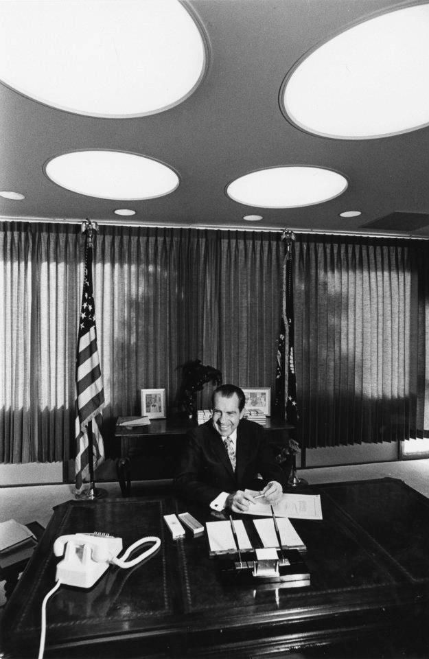 President Nixon signing the National Environmental Policy Act of 1969, on New Year's Day 1970, in his office at La Casa Pacifica, The Western White House in San Clemente, CA.   Photo courtesy of the Richard Nixon Presidential Library & Museum Facebook page.