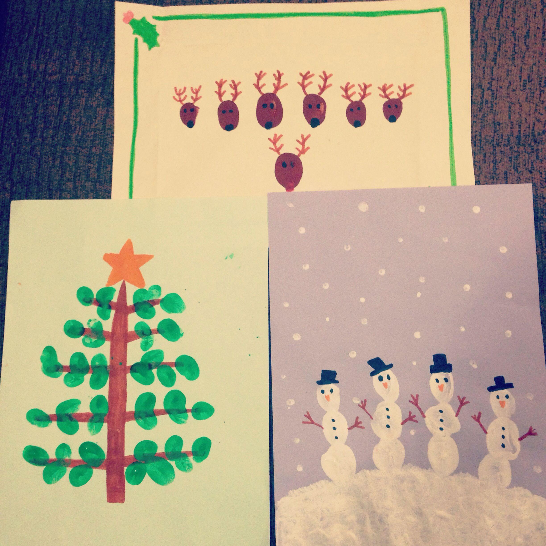 Christmas fingerprint homemade cards for kids. Reindeer
