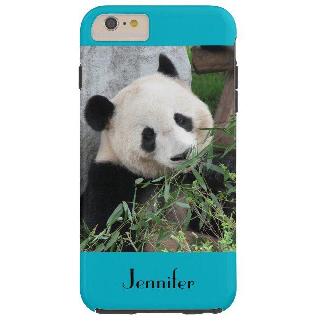 Cute Giant Panda Blue Background Custom Name Tough iPhone 6 Plus Case #panda #giant #pandas #chinese #personalized #ToughiPhone6PlusCase #panda #pandas #cutepandas #giantpandas