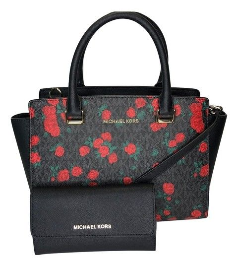 29d987323379 Michael Kors Selma Md and Trifold Wallet Set Signature Mk Black/Red Roses  Leather Satchel. Save big on the Michael Kors Selma Md and Trifold Wallet  Set ...