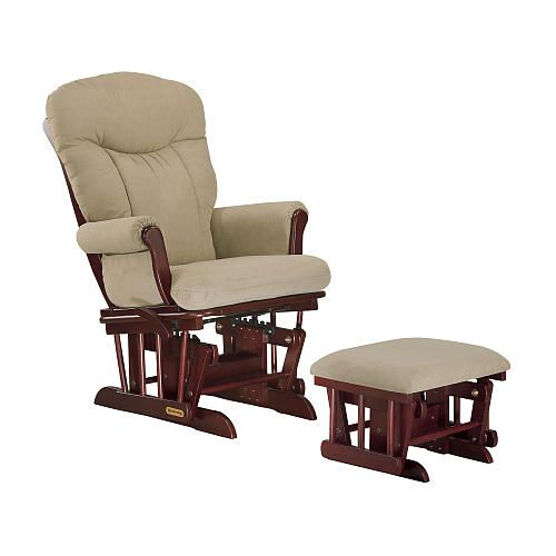 Shermag Cherry Glider And Ottoman Combo With Fern Fabric