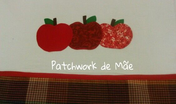 Pano de prato. Maçãs vermelhas. Patchwork de Mãe