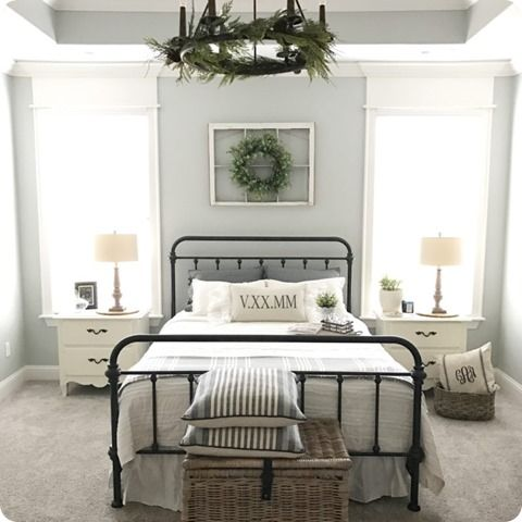 Window With A Wreath Above Bed Farmhouse Style Bedrooms Farmhouse Bedroom Decor Bedroom Paint Colors Master