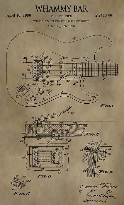 Vintage Whammy Bar Patent By Dan Sproul Music Images Guitar Building Blueprints