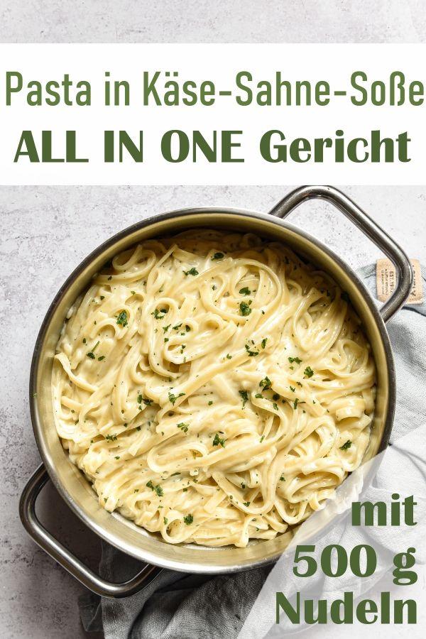 Fettucine in cremiger Käse Sahne Soße, die Nudeln (wahlweise gehen auch Linguine, notfalls Spaghetti) werden in der Soße gar gekocht, All in One Rezept mit 500 g Nudeln, Thermomix, vegetarisch, vegan machbar