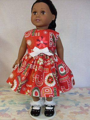 Red-with-Holiday-Print-Doll-Dress-for-18-inch-and-American-Girl-Doll