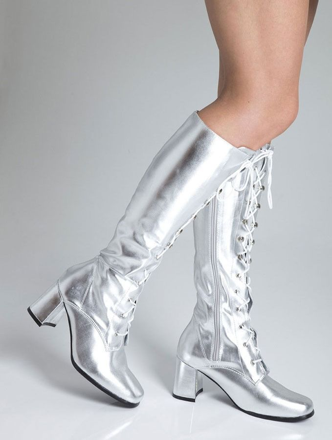 b64d5606bc11 Knee high shiny silver boots Lace up eyelet Perfect go go boots for an Abba  fancy dress!