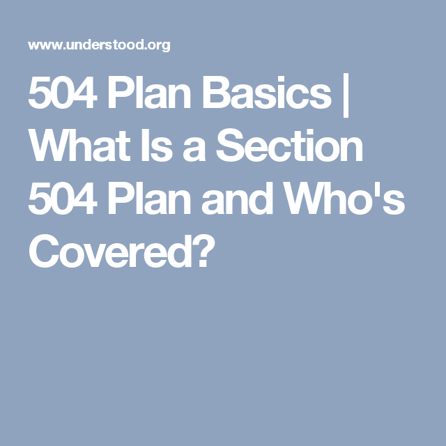 What Is a 504 Plan? | 504 plan, How to plan, Elementary ...