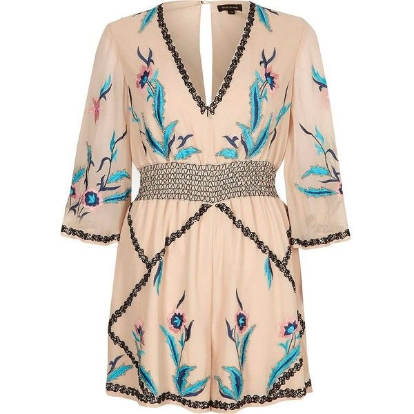 fbd15f171da5 River Island Cream floral embellished kimono romper ( 140) ❤ liked on  Polyvore featuring jumpsuits