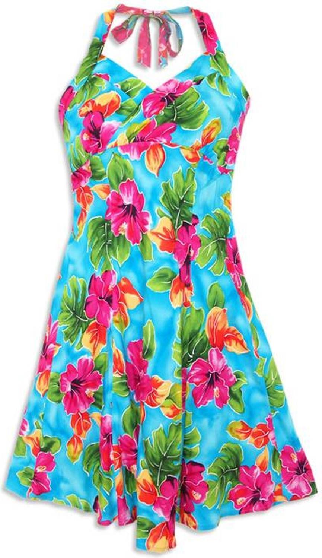 hoopla blue napali halter hawaiian wedding sun dress plus size ...
