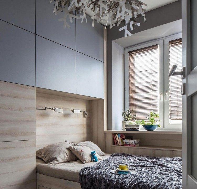 graue Hängeschränke für mehr Stauraum über Bett | Schlafzimmer ...