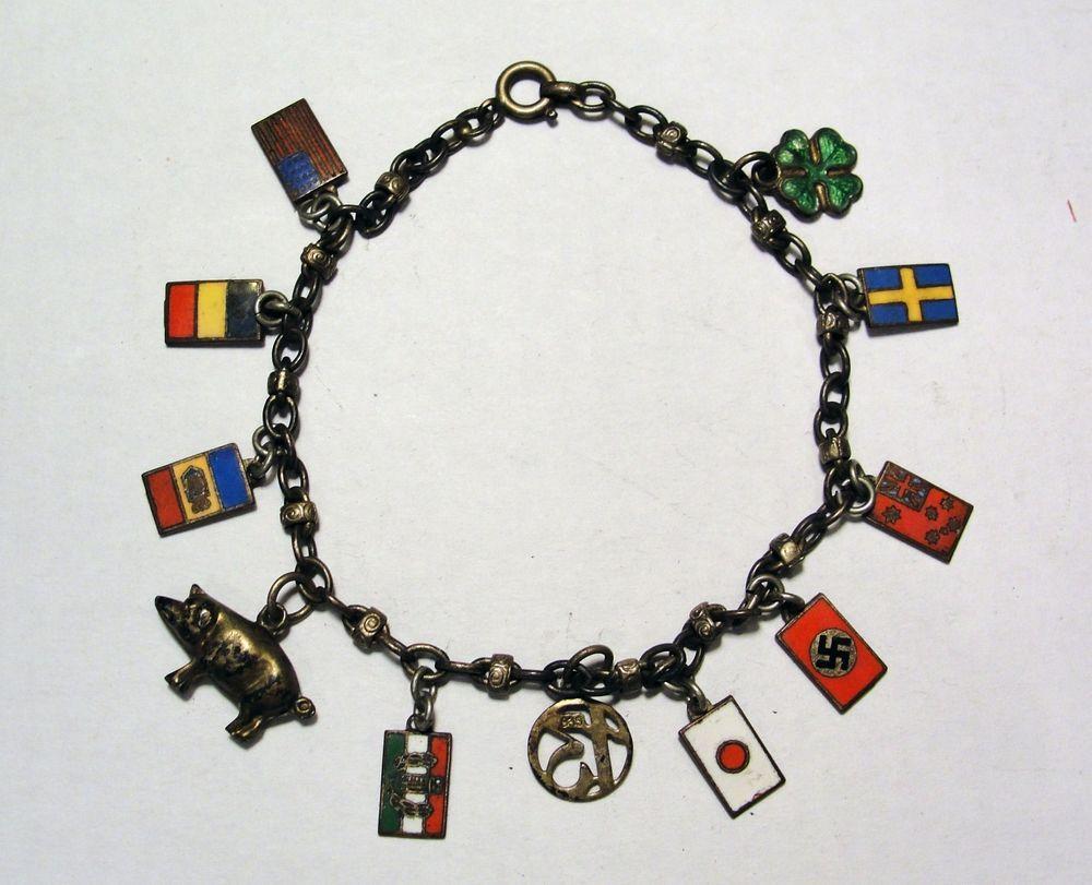 835 Silver Pre Ww2 National Flags Charm Bracelet Germany
