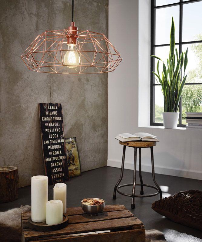 eglo carlton 2 vintage hanglamp koper inrichting woonkamer