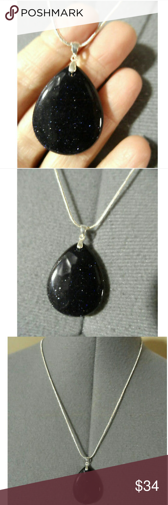 New black goldstone pendant necklace set silver lobster clasp