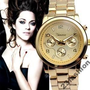 Zloty Zegarek Damski Geneva Classic Kwarcowy 3645949412 Oficjalne Archiwum Allegro Gold Watch Accessories Gold