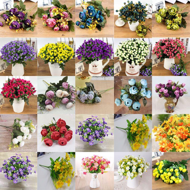 1 Bouquet 21 Head Artifical Plastic Rose Wedding Home Office Decor Silk Flower