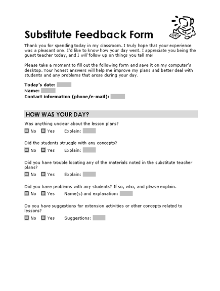 Substitute Feedback Form  Templates  OfficeCom  Teacher