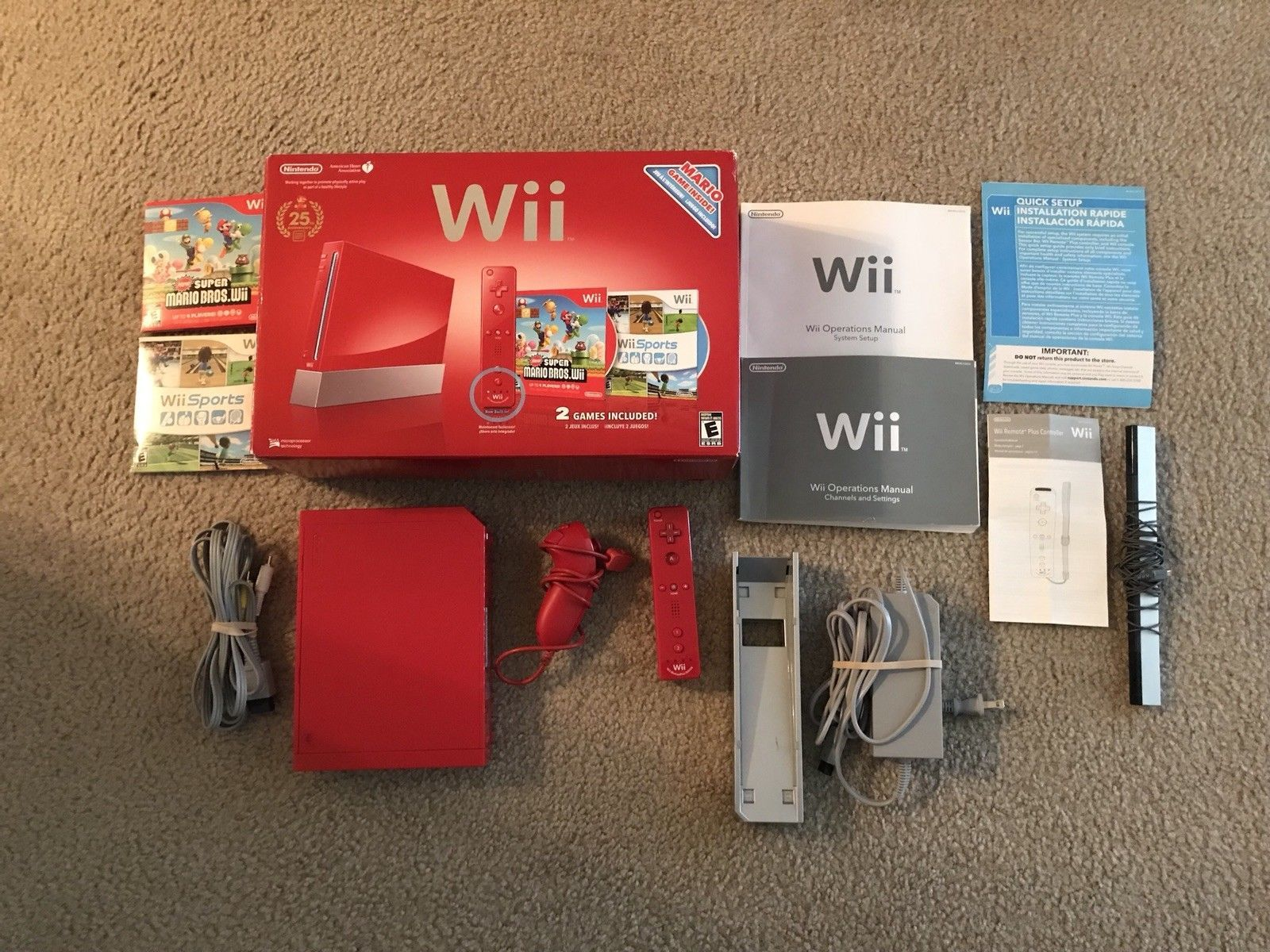 Nintendo Wii New Super Mario Bros Limited Edition Red Console 25th