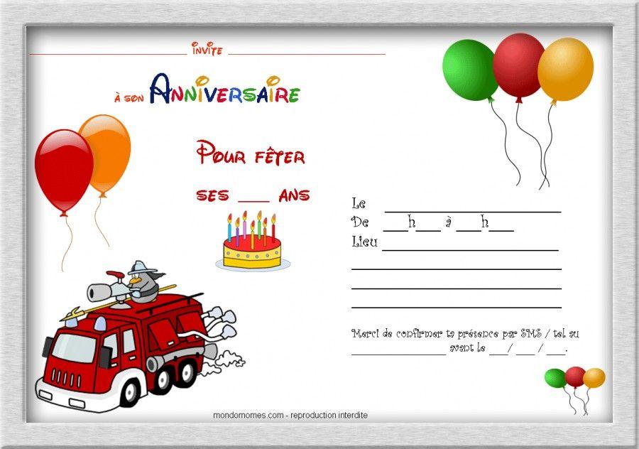 Carte invitation garçon thème pompier avec cadre   Invitation anniversaire à imprimer, Carte ...