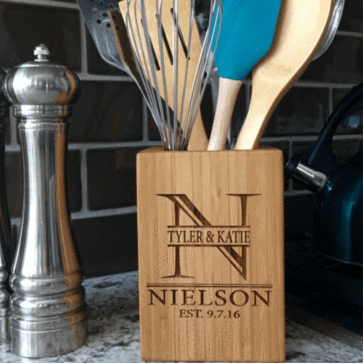 Custom bamboo kitchen utensil holder kitchen utensil holder