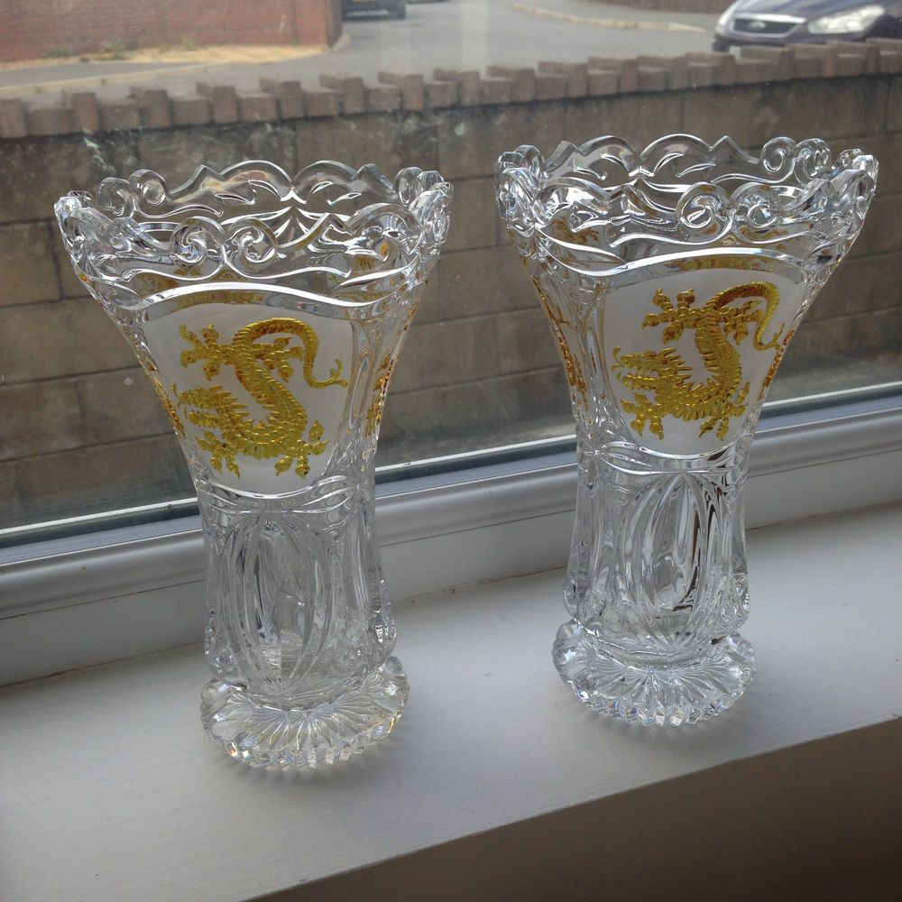 Rare stunning pair of hofbauer gold gilded dragon crystal glass rare stunning pair of hofbauer gold gilded dragon crystal glass vases german reviewsmspy