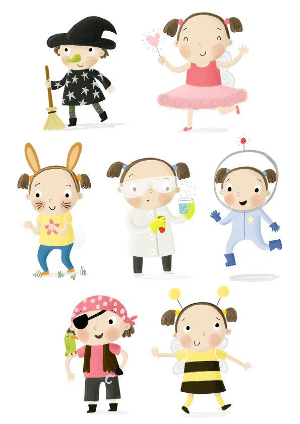Becky Down Illustration  Girl Character Sheet - dress up!