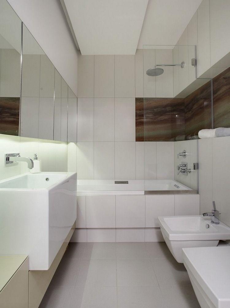 vertikal verlegte 30x60 Wandfliesen in weiß Bad Pinterest - badezimmer weiß grau