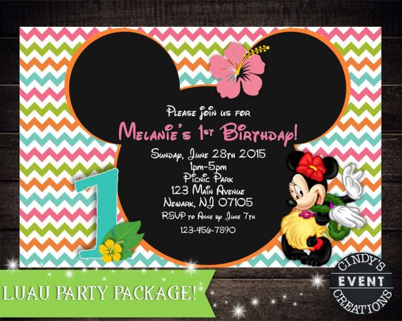Minnie Mouse Luau Invitation By CindysEventCreations