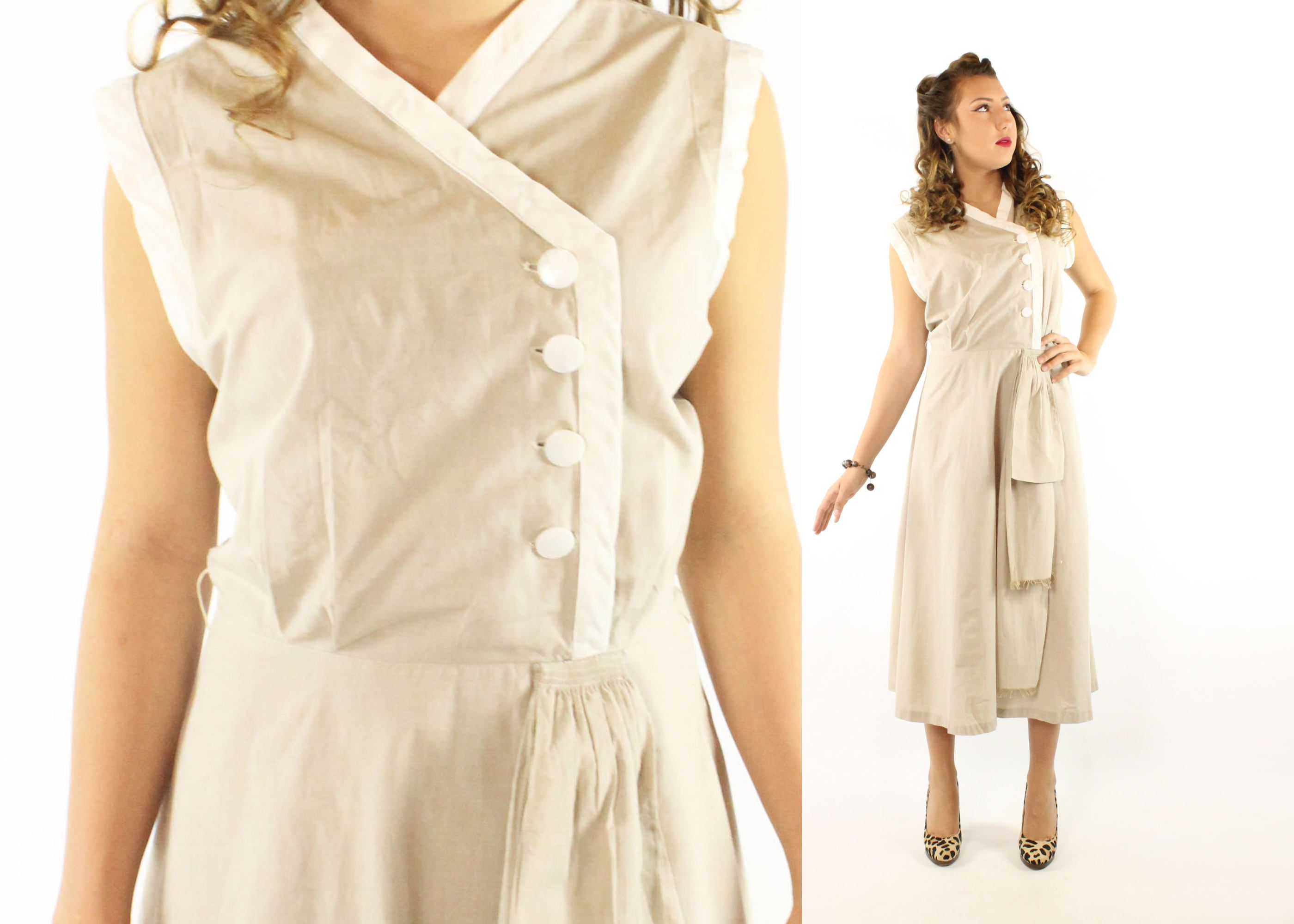 vintage s day dress sleeveless flared skirt taupe tan cotton