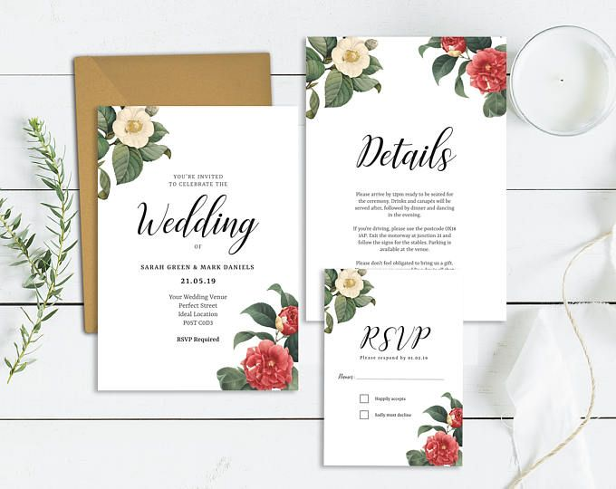 Floral Wedding Invitation Template  Printable Wedding Invite Set