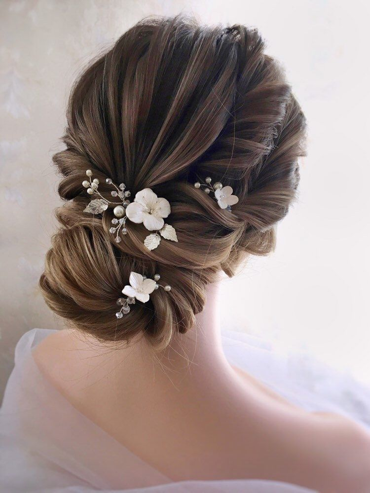 Hair Pins For Wedding Wedding Hair Pins SET Flower Hair   Etsy
