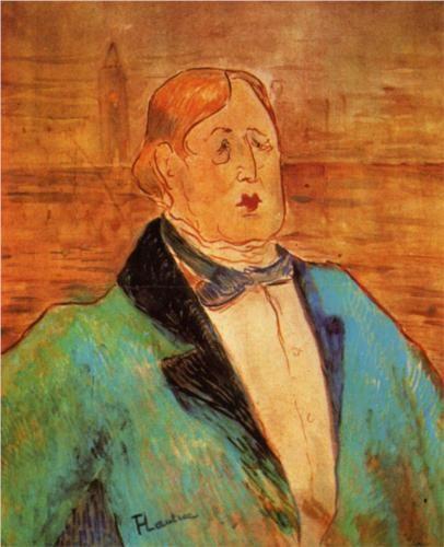 Portrait of Oscar Wilde  Artist: Henri de Toulouse-Lautrec   Completion Date: 1895  Style: Post-Impressionism   Genre: portrait