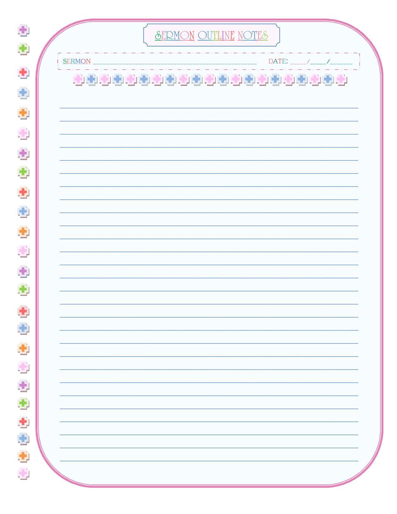Rainbow Sermon Notes Pink Amp Blue Blue Fill