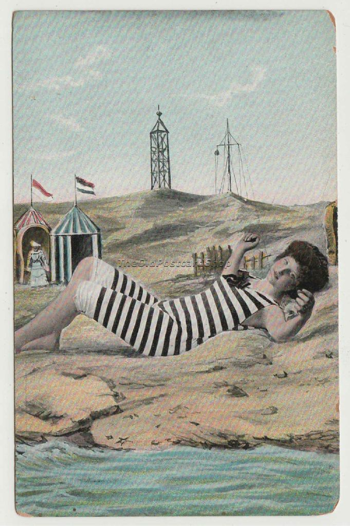 D087 Fantasy Bathing Beauty Striped Suit Reclining on Beach Un Circa ...