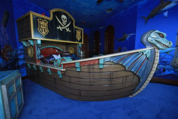 Pirate Ship Bedroom, Custom Created Pirate Ship Bunk Bed And Painted Mural  To