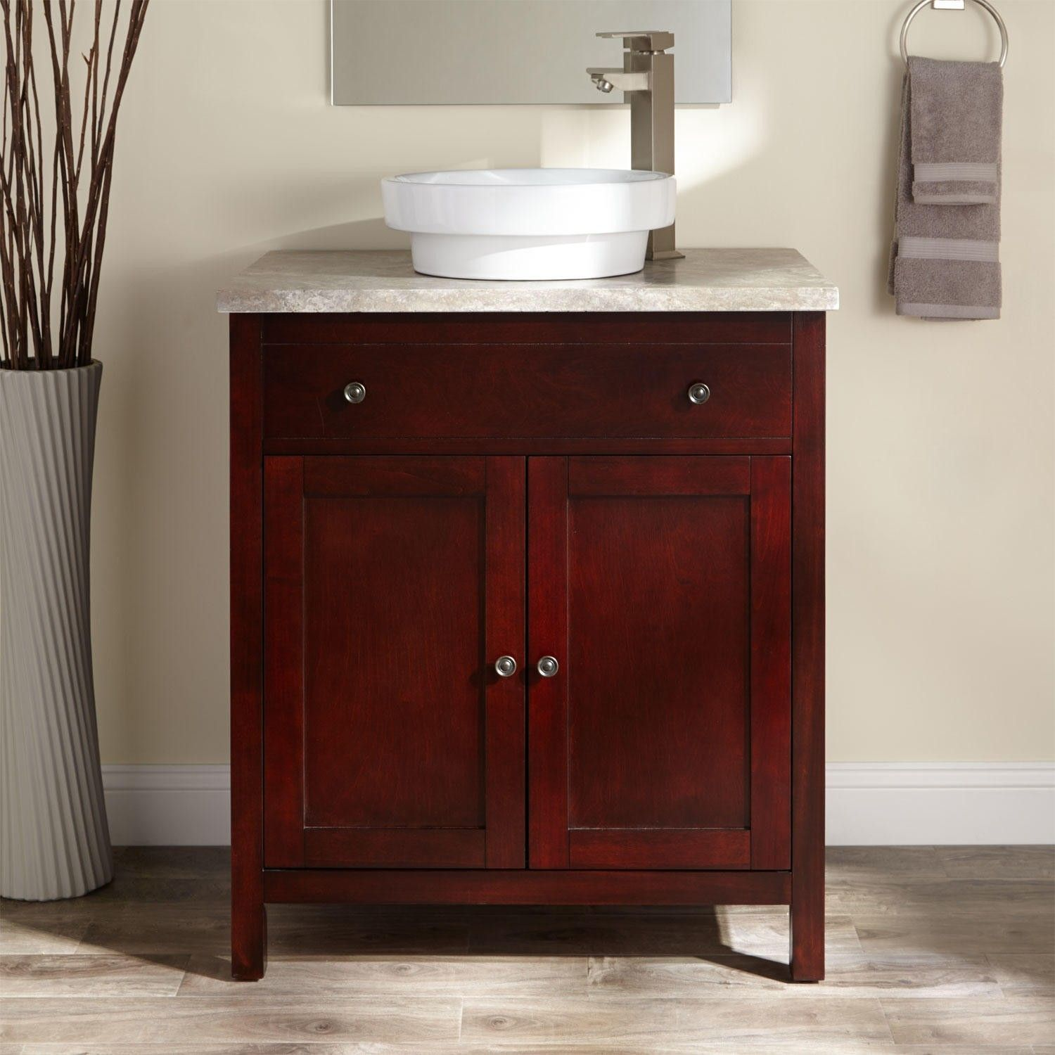 Classic Wooden Bathroom Vanity In Cherry Glazed With Square Legs .