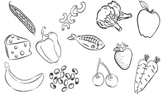 Type healthy food coloring page kids coloring pages for Healthy foods coloring pages
