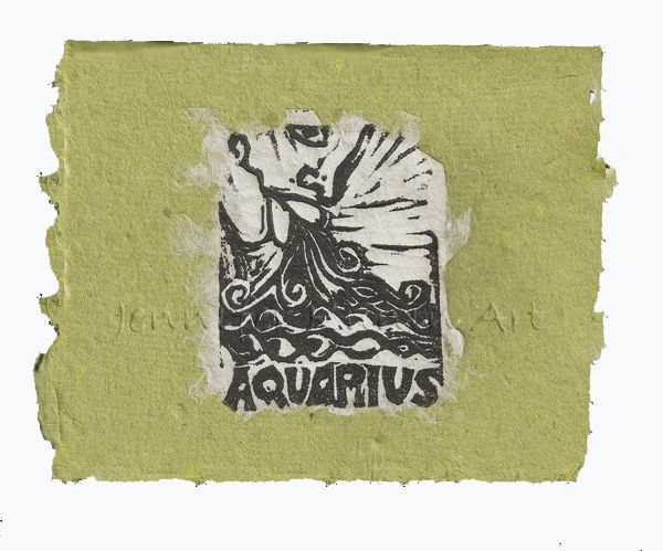 Aquarius card, lino print on handmade paper by Jennifer Kunin www.etsy.com/shop/JenniferKuninStudio