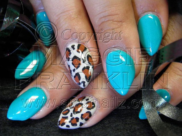 Almonds Shaped Acrylic Nails With Hand Painted Nail Art Nailshair