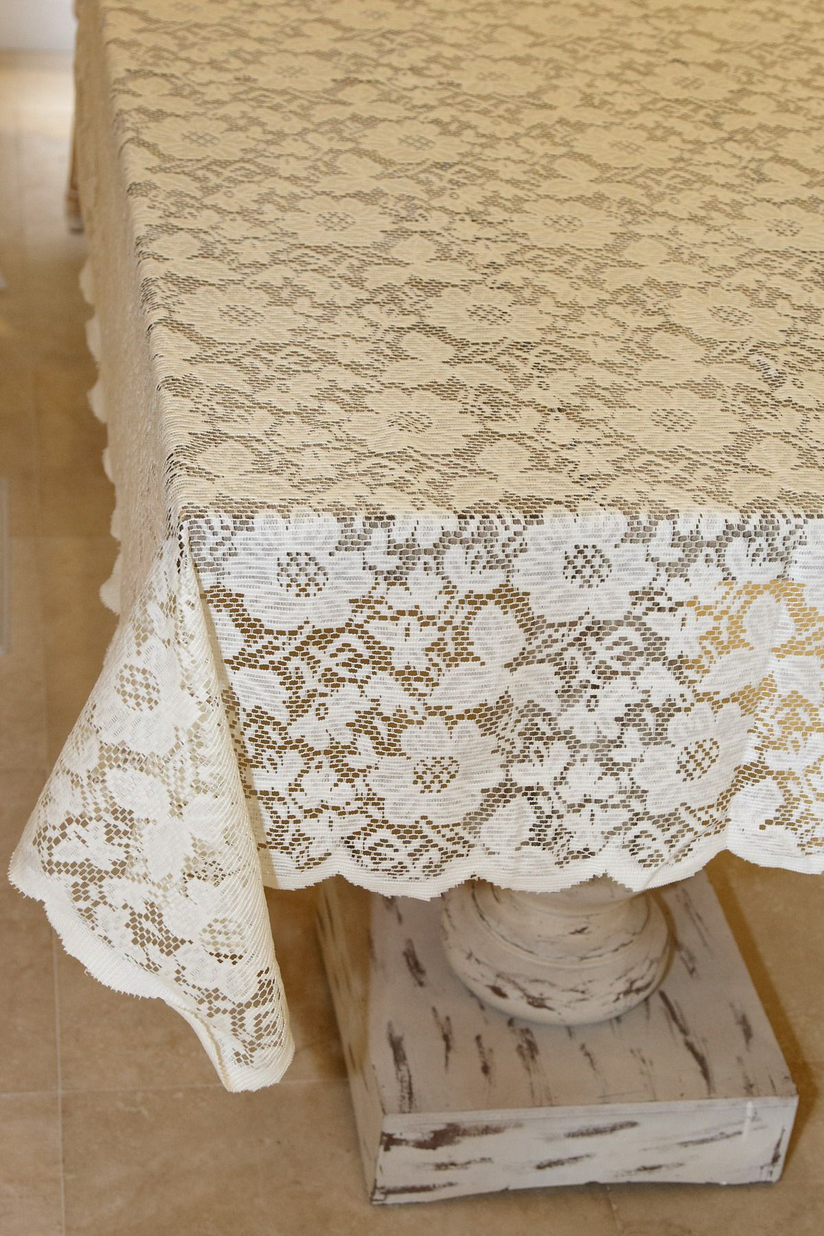 Bon Tablecloth Lace Square Ivory 54in For $10