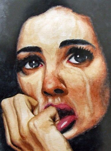 Woman crying, watercolor portrait by Eunice Rosales