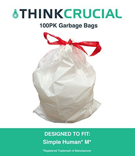 100 Durable Garbage Bags Fit Simple Human M 45l 12 Gallon By Think Crucial Visit The Image Link More Trash Bags Kitchen Trash Cans Biodegradable Products