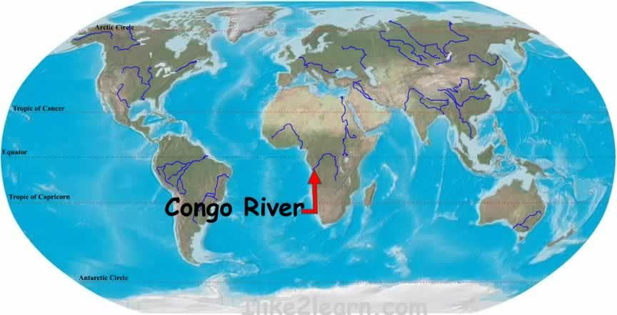 Congo River On World Map The Congo River is located in the northwestern part of Africa. It